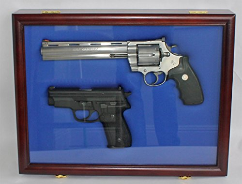 Pistol Airsoft Gun/Handgun Display case Shadow Box, Lockable (Blue Felt-Mahogany Finish)