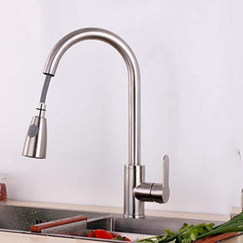 FZHLR uittrekken en neerzetten keuken kraan douchekop 2 water komen uit type warm en koud 304 roestvrij staal geborsteld enkele houder enkele gat Kleur