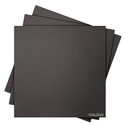 "BuildTak BT12X12-3PK 3D Printing Build Surface, 12"" x 12"", 304 mm x 304 mm, Square, Black (Pack of 3)"