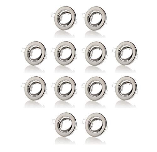 sweet led® 12 er-Set Einbaustrahler inkl. GU10 Fassung 230V Einbaulampen schwenkbar deckenspots Einbauspots Einbauleuchten (chrom gebürstet - rund)