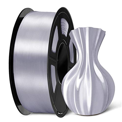 SUNLU 3D Filament 1.75, Shiny Silk PLA Filament 1.75mm, 1KG PLA Filament 0.02mm for 3D Printer 3D Pens, Silver