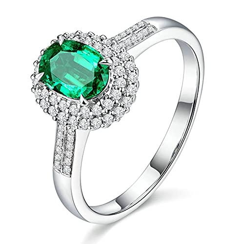 KnSam Anillo de mujer de oro blanco de 18 quilates para mujer con diamante de esmeralda de 1,1 ct