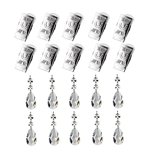 TongICheng Mantel Pesos Set, 10pcs Mantel Pendiente cristalino, Vidrio cristalino de la lágrima de prismas Colgante con Heavy Metal Clip