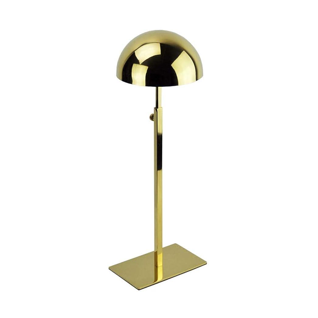 静かにマウス施設帽子収納ラックステンレス衣料品店帽子ディスプレイラックキャップホルダーラックディスプレイラック (Color : Gold)