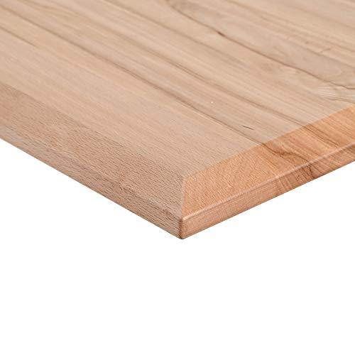 boho office® Massivholz, Tischplatte Schreibtischplatte 180 x 80 x 2.5 cm in Buche Massiv mit durchgehenden Lamellen geölt und gewachst