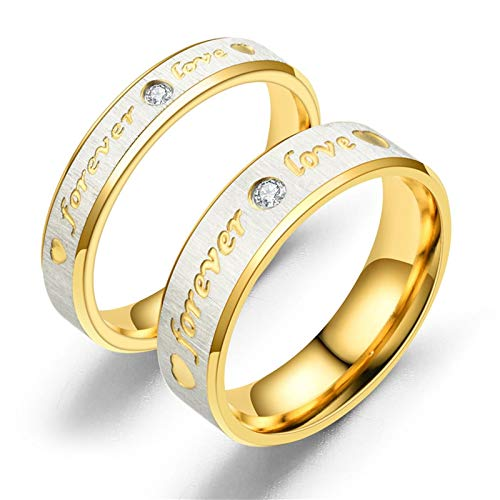 AueDsa Ring 2Pc Ring Engraving Forever Love Cubic Zirconia White Stainless Steel Ring for Couple Gold Women Size N 1/2 & Men Size V 1/2