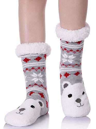 YEBING Women's Cute Knit Cartoon Animal Face Soft Warm Fuzzy Fleece Lining Winter Home Slipper Socks Snowflake Bear