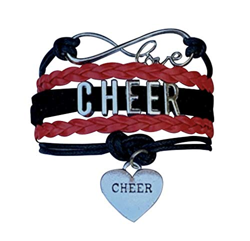 Cheer Charm Bracelet- Girls Infinity Love Adjustable Cheerleading Jewelry in Team Colors - Perfect Gift For Cheerleader (Black/Red)