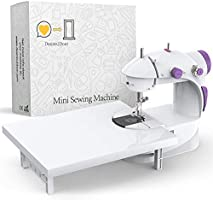 Beginner's Mini Sewing Machine with Extension Table   Easy-Sew Sleeves, Cuffs & Hems Functionality   100% Copper Motor  ...