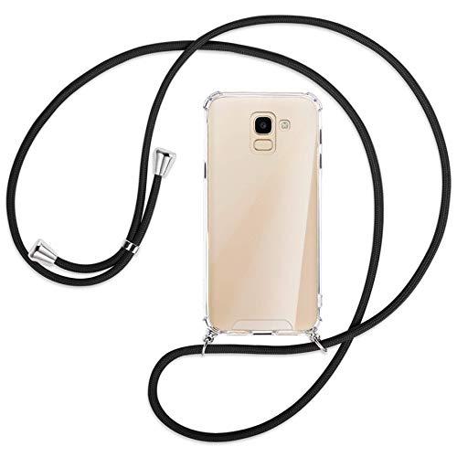 mtb more energy® Handykette kompatibel mit Samsung Galaxy J6 2018 (SM-J600, 5.6'') - schwarz - Smartphone Hülle zum Umhängen - Anti Shock Strong TPU Case