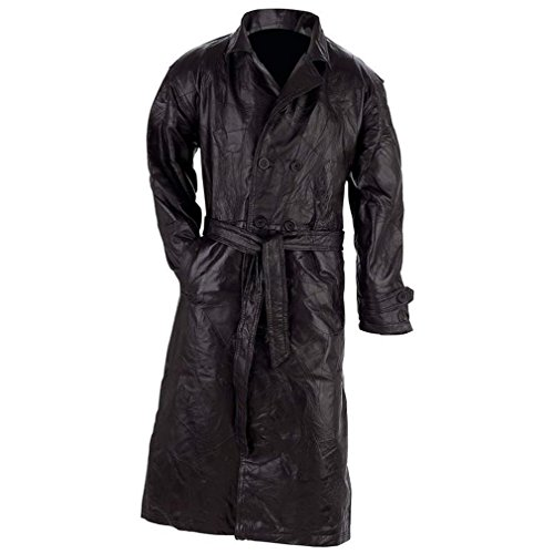 Giovanni Navarre Mens Genuine Leather Trench Coat--4X