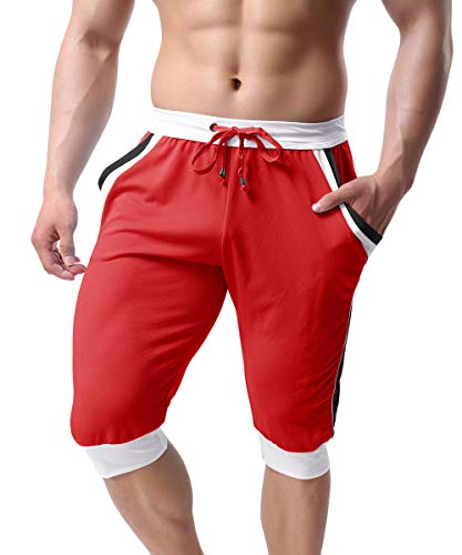TOTNMC Men's Three Quarter Pants Bodybuilding Shorts Quick Drying Shorts with Pockets Red