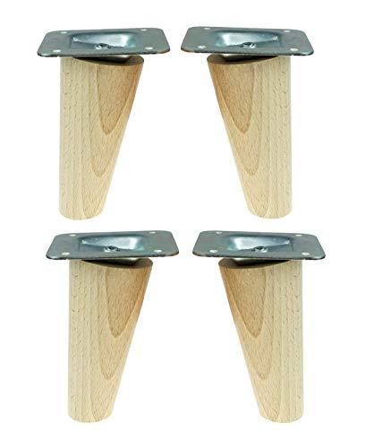 4x Holzfüße,Möbelfüße, Sofafüße Buche, Zubehör L.10 cm schräg Holz (H-100 Schräg)