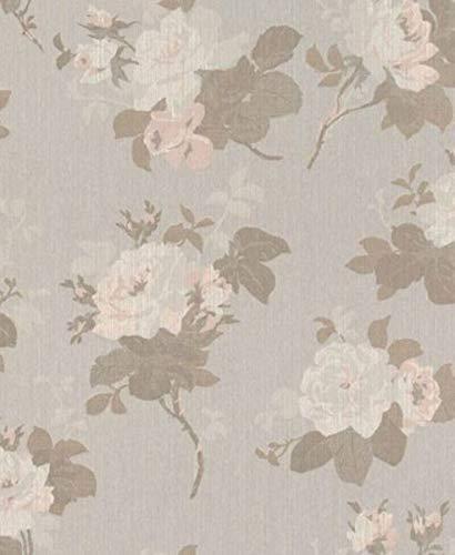 Casa Padrino Barock Textiltapete Grau/Braun/Rosa 10,05 x 0,53 m - Tapete mit Blumenmuster