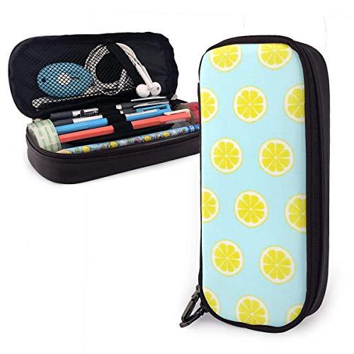 Astuccio portamatite in pelle PU a fette di limone, borsa per penna di grande capacità, durevoli organizer per cancelleria per studenti
