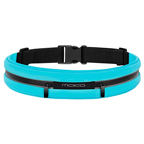 MoKo Cinturón Deportivo para Correr al Aire Libre con Doble Bolsillo,a Prueba de Sudor, Reflectante, para Fitness, Entrenamiento, Compatible con iPhone 11/X/XR, Galaxy S10/S10e,hasta 6.5', Azul Claro