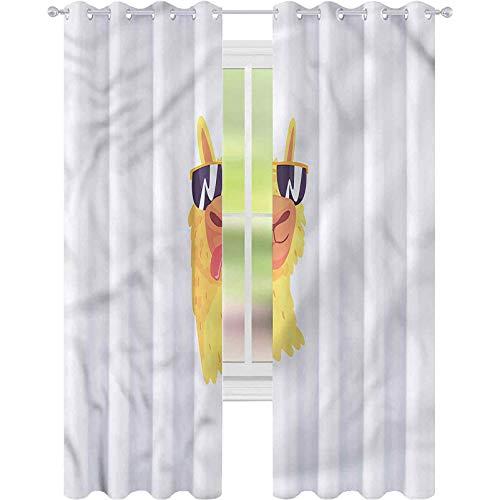 jinguizi Cortina opaca térmica aislante llama gafas de sol con animal W52 x L63 drapeado para puerta de cristal