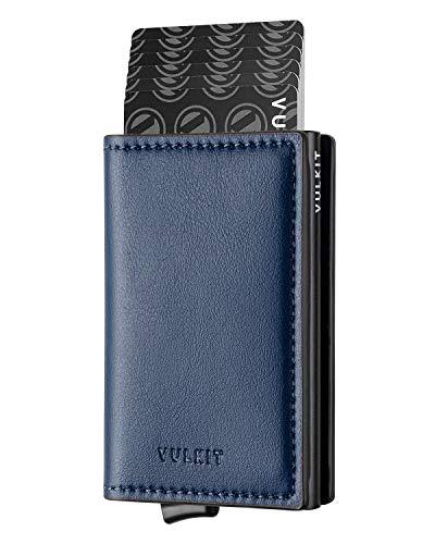 VULKIT Pocket Cartera Tarjetero Hombre Piel con Aluminio Caso RFID Bloqueo Tarjetero Minimalista con 3 Ranuras para Tarjetas y Billetes, Armada