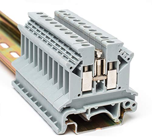 Erayco UK2.5N-GR DIN Rail Terminal Block, Screw Clamp, 600V 20A 24-12AWG, Pack of 100