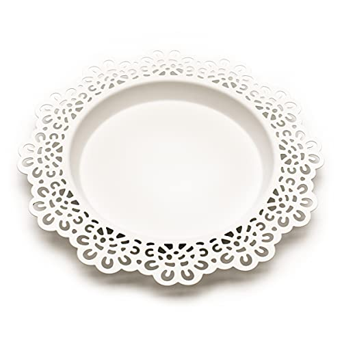 Ikea SKURAR Kerzen-/Dekoschale, weiß 18cm, Metall, White, 19 x 19 x 2 cm