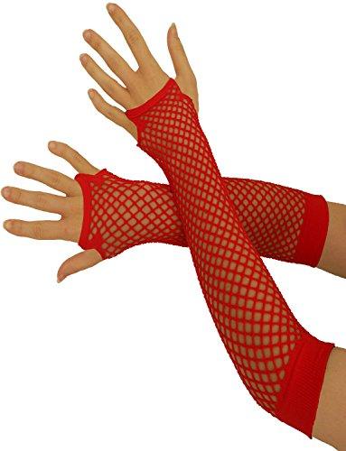 Yummy Bee - Fingerlose Netzhandschuhe - Lang Kurz - Damen Halloween Karnival 80er Kostüm (Rot, Lang)
