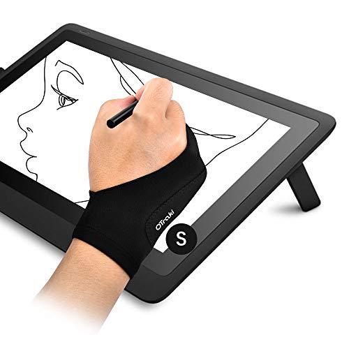 OTraki Antifouling Handschuh 2 Pack Palm Rejection Glove Zwei Finger Verdickungs Handschuhe 2 Finger Handschuhe Zeichnen Für Grafiktablett, Pad, Display, Kunstmalerei, Oberflächenschutz S (7x18.5cm)