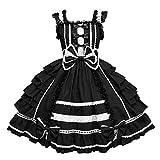 routinfly Lolita - Vestido de mujer para cosplay, estilo gótico, de manga larga, estilo patchwork, vestido de noche Negro XXXXL