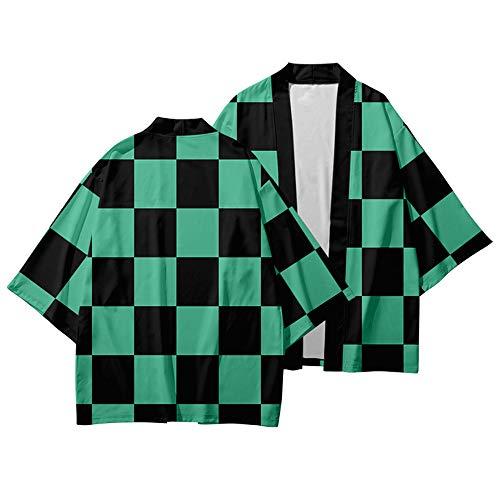 KINOMOTO Kamado Tanjirou Anime Demon Slayer Cosplay Costume Kimono Cardigan Jacket Coat Top for Unisex