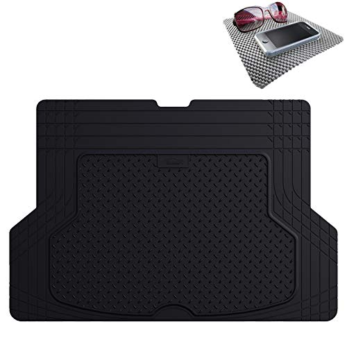 FH Group F16406 Premium Trimmable Rubber Cargo Mat (Black) with Gift - Universal Fit for Cars Trucks and SUVs
