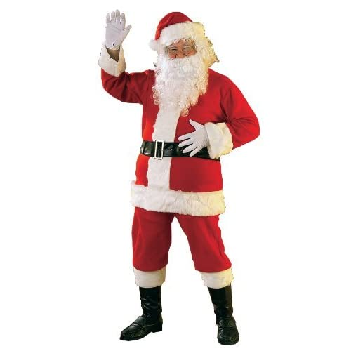 b53139be0394 Mens Santa Claus Father Christmas Xmas 6 Piece Fancy Dress Costume Outfit  with Beard  Amazon.co.uk  Toys   Games