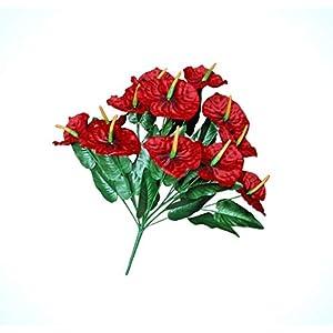 Artificial Anthurium Red 12-Lily 20″ Bouquet Floral Arrangement Home Bridal Tropical Plant Flowers Bouquet Realistic Flower Arrangements Craft Art Decor Plant for Party Home Wedding Decoration