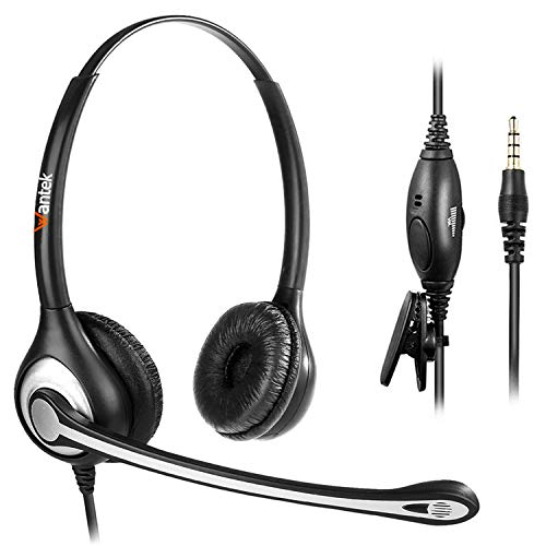 Wantek Headset Handy Binaural mit Noise Cancelling Mikrofon, Smartphone Kopfhörer 3,5mm Klinke Für iPhone Samsung Huawei HTC LG ZTE BlackBerry Android Mobiltelefon Laptop PC(F602M1)
