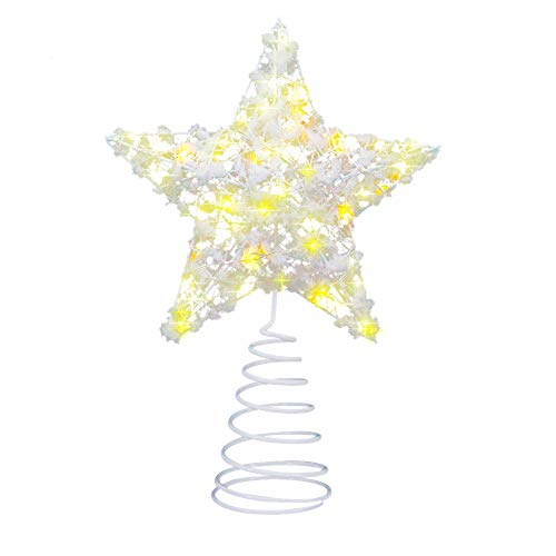 LinGear Estrella de Navidad con Luz LED Adorno Decoración Navidad para Copa DEK Árbol Ligero Ambiental con Base (Blanco)