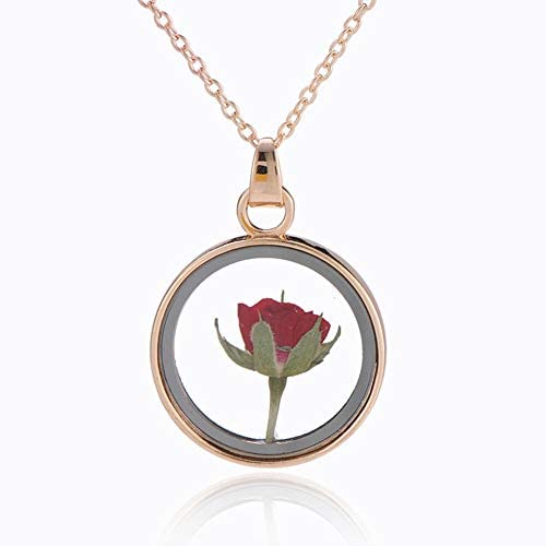 3D Rose Necklace for Women Mom Girlfriend Christmas Necklace Gifts Charm Gold Dry Red Rose Romantic product image