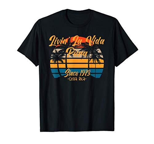 Since 1973 Costa Rica Vida Pura Vintage Sunset Palm Trees Si Camiseta