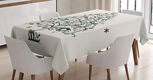 ABAKUHAUS Navidad Mantele, Árbol y Hadas, Resistente al Agua Lavable Colores No Destiñen Personalizado, 140 x 200 cm, Rojo y Verde