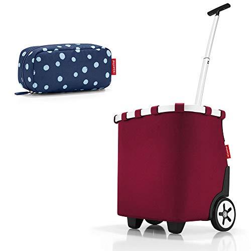 reisenthel - carrycruiser + case 2 Einkaufskorb Einkaufstasche Einkaufstrolley Set Rolltasche Case Kosmetik (Dark Ruby)