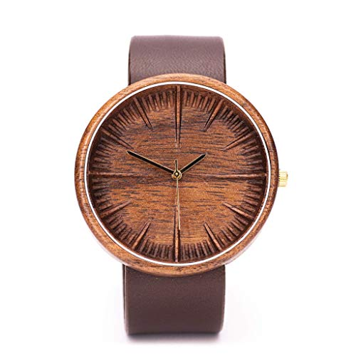 Ovi Watch, Walnut Wood Watch For Men, Powered By Swiss Movement and Sapphire Crystal Glass, Comes With Wooden Gift Box