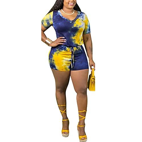 Mono de mujer de talla grande con estampado anudado, manga corta, cuello en V, casual, dos piezas, oversize de una sola pieza, amarillo, S