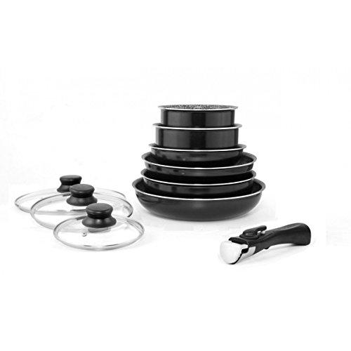 Batterie de cuisine Noir 10 pièces amovibles Arthur Martin