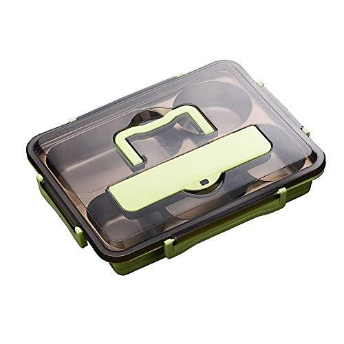CUIZC Fiambrera aislada portátil con 4 y 5 compartimentos, de acero inoxidable, con cubiertos y tazas de sopa, 28 x 22 x 4,2 cm