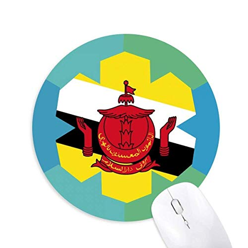 Brunei National Flag Asia Country Round Rubber Blue Snowflake Maus Pad
