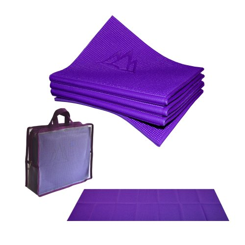 Khataland YoFoMat-Best Travel Yoga Mat, Eco Friendly, Foldable, with Travel Bag, Extra Long 72-Inch, Free From Phthalates and Latex, Royal Purple