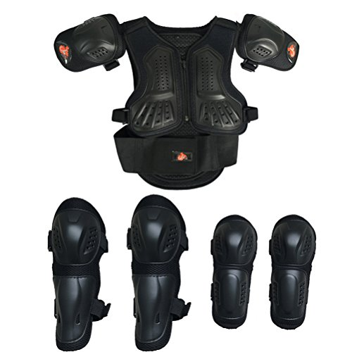 Takuey Kids Motorcycle Armor Suit Dirt Bike Chest Spine Protector Back Shoulder Arm Elbow Knee Protector Motocross Racing Skiing Skating Body Armor Vest Sports Safety Pads 3 Colors (Black, XS)