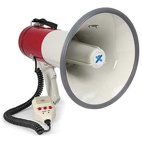 Vexus MEG050 Megafon lautstarkes 50W Megaphone mit Aufnahme-Funktion (Sirene, Mikrofon, Batterie-Betrieb, Trage-Gurt) rot-weiß