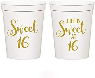 Mandeville Party Company Sweet 16, Life is Sweet at 16-16th Birthday Stadium Cups (10 Cups)