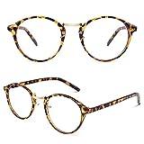 CGID CN65 Retro Anteojos Lente Claro Gafas Para Mujer y Hombre,Tortoise