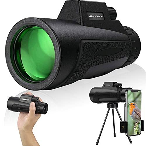 Moocuca Monocular Telescopio 12x50 HD Monocular, Antivaho, Impermeable Monocular Telescopio con Adaptador para Smartphone Trípode para la observación de pájaros, Sightseeing, Juego de Pelotas