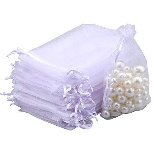 G2PLUS 100PCS Bolsas de Organza Blanco Bolsas de Organza de Regalo Bolsitas de Tela para Boda Favores y Joyas 13x18cm