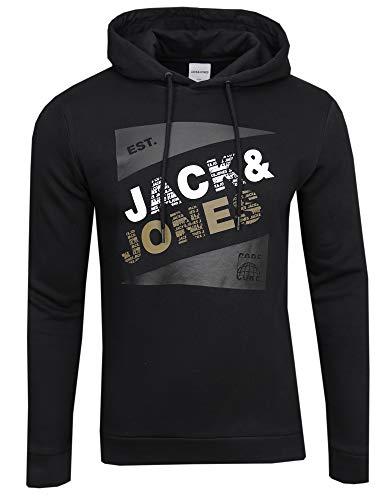 JACK & JONES Sweat à capuche avec logo., Noir/imprimé : retail, L